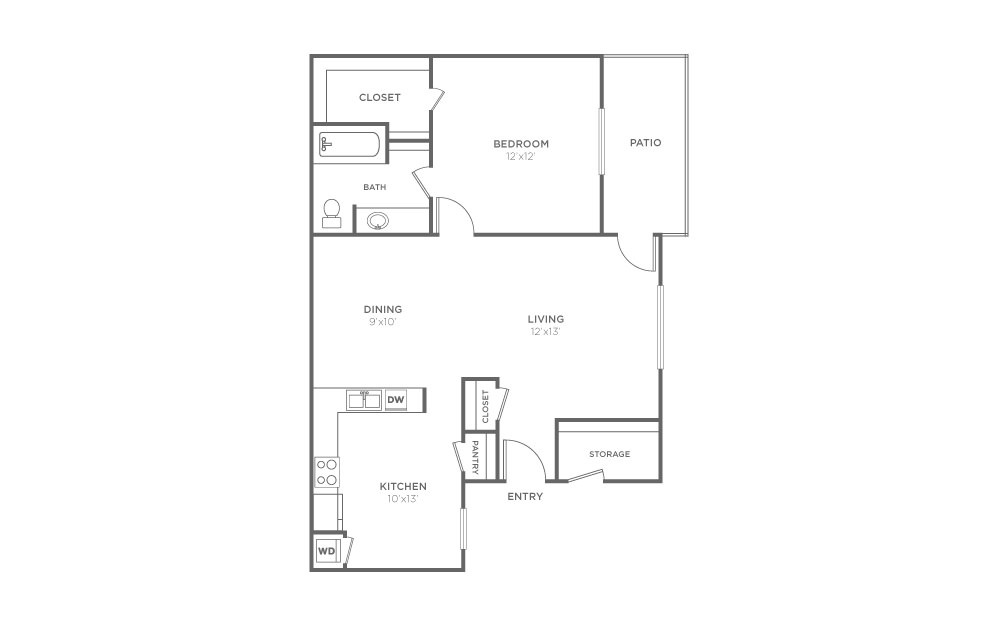 A-1 - 1 bedroom floorplan layout with 1 bath and 777 square feet (1st floor 2D)