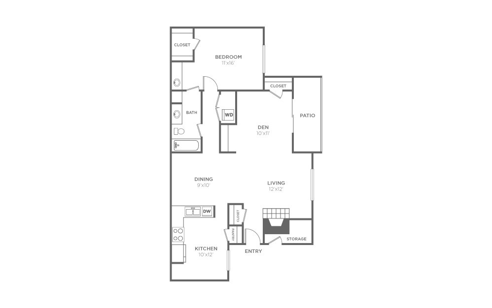 A-2 - 1 bedroom floorplan layout with 1 bath and 1013 square feet (1st floor 2D)