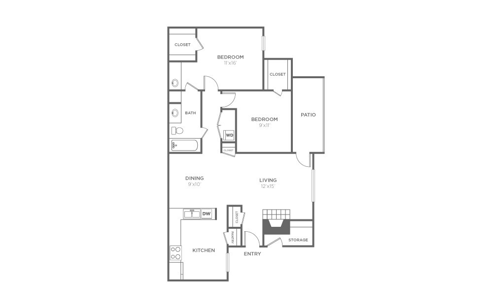 B-1 - 2 bedroom floorplan layout with 1 bath and 1013 square feet (1st floor 2D)