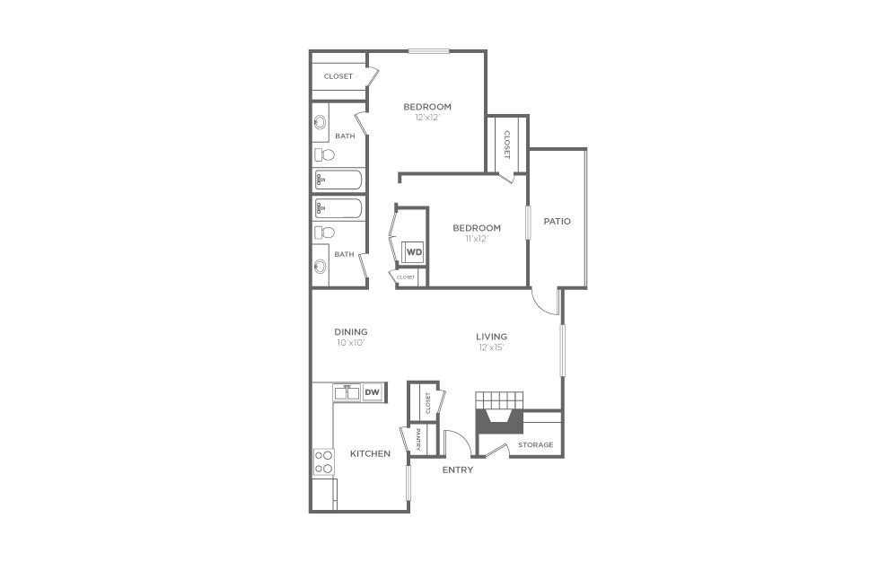 B-2 - 2 bedroom floorplan layout with 2 bath and 1059 square feet (1st floor 2D)