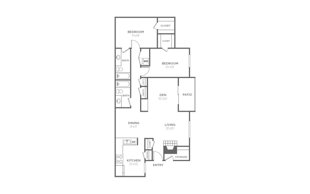 B-3 - 2 bedroom floorplan layout with 2 bath and 1338 square feet (1st floor 2D)
