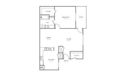 A-1 - 1 bedroom floorplan layout with 1 bath and 777 square feet