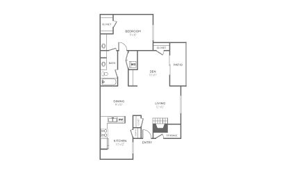 A-2 - 1 bedroom floorplan layout with 1 bath and 1013 square feet