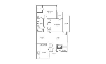 B-1 - 2 bedroom floorplan layout with 1 bath and 1013 square feet