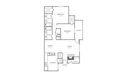 B-2 - 2 bedroom floorplan layout with 2 bath and 1059 square feet