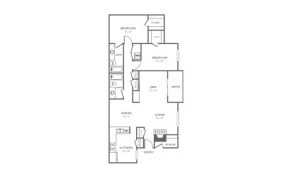 B-3 - 2 bedroom floorplan layout with 2 bath and 1338 square feet